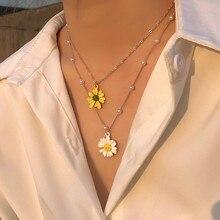 Zovoli daisy pérola multi layerd colar nova moda bonito corrente pingente colares para mulheres jóias presente 2021 na moda