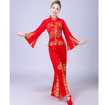 New Style Yangge Dance Childrens Costumes Adult Female Chinese Red Lantern Show Costume Stage Performance