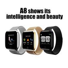 Pulsera inteligente A8 para hombre y mujer, reloj inteligente deportivo resistente al agua, con control del ritmo cardíaco y Contador de pasos