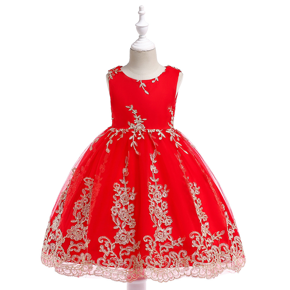 2019 New Style Red Princess Dress Cotton Inner Dresses Of Bride Fellow Kids Gauze Embroidered Wedding Dress Children Late Formal