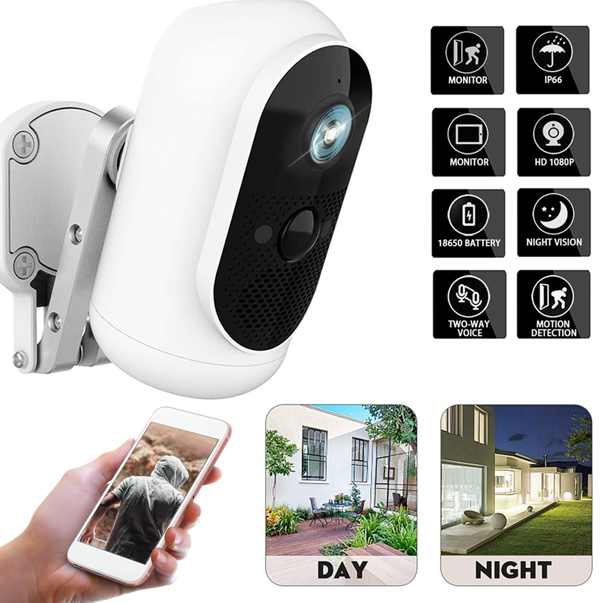 100% Wire-free Home Security 1080P HD Mini IP Camera WiFi Wireless Night Vision Camera 6000mA Battery PIR Camera IP