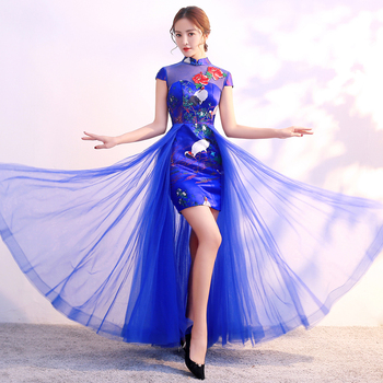 Red Chinese Style Womens Wedding Cheongsam Retro Sexy Slim Party Evening Dress Marriage Gown Qipao Fashion Lady Vestido S-3XL