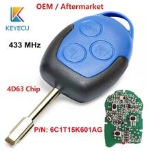 KEYECU OEM llave de coche remota original/posventa, 3 botones, 433MHz, 4D63, para Ford Transit, WM, VM, 2006 2014, P/N: 6C1T15K601AG, FO21