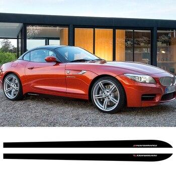 2 Pcs Car Door Side Skirt Stripes Sticker M Performance Styling Vinyl Decal For BMW Z4 E85 E86 E89 Accessories цена 2017