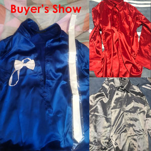 Image 2 - Мужская шелковая рубашка s, черная классическая рубашка из гладкого атласа, 3 шт. (рубашка + галстук + бабочка), приталенная Повседневная рубашка для вечеринки и выпускного вечера