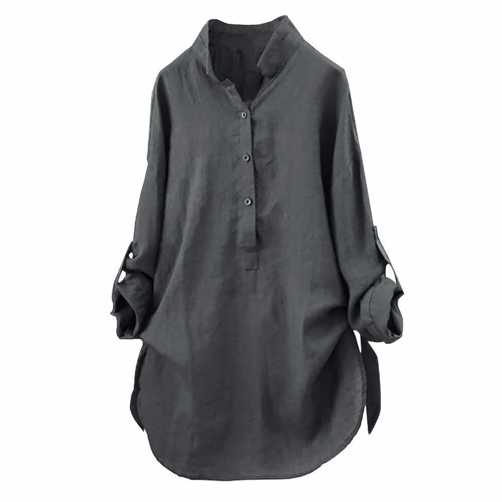 New Women Tops Blouses Autumn Loose Button Long Sleeve Long Shirt Dress Blouse Plus Size Casual Solid Cotton Tunic Tops Blusas