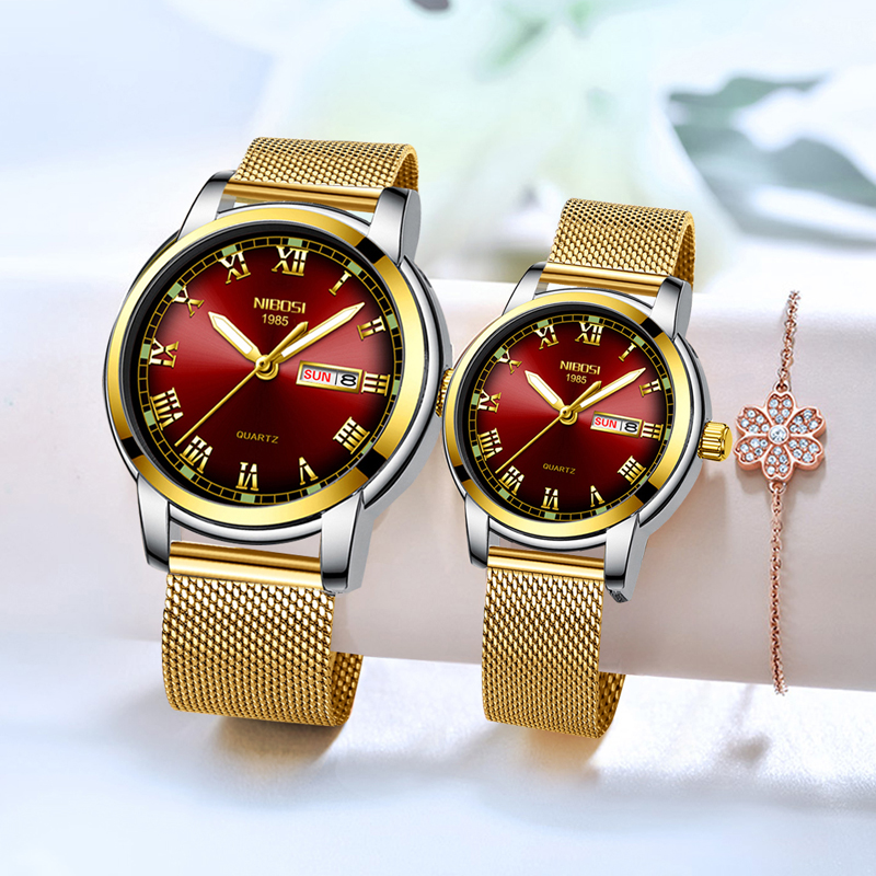 NIBOSI Couple Watch For Men Women Watches Gold Luxury Brand Quartz Wrsitwatch With Date Week Reloj Mujer Gift For Goliday