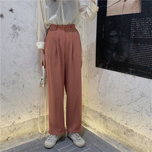 In The Fall of 2019 New Women Black Pants Has A Solid Color Loose Thin and Casual Trousers Pockets