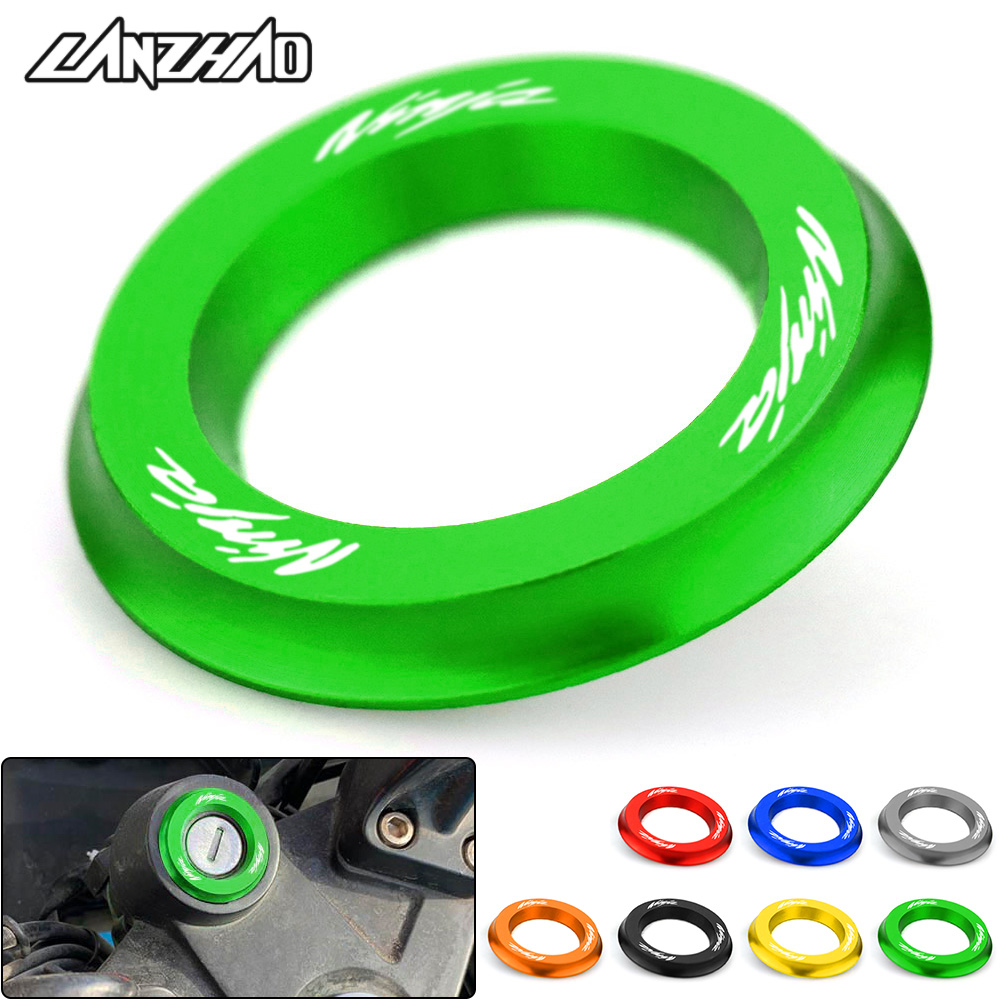 NINJA Motorcycle Ignition Switch Cover Ring CNC Accessories for Kawasaki Ninja 250 <font><b>300</b></font> <font><b>400</b></font> 2013 2014 2015 2016 2017 2018 2019 image