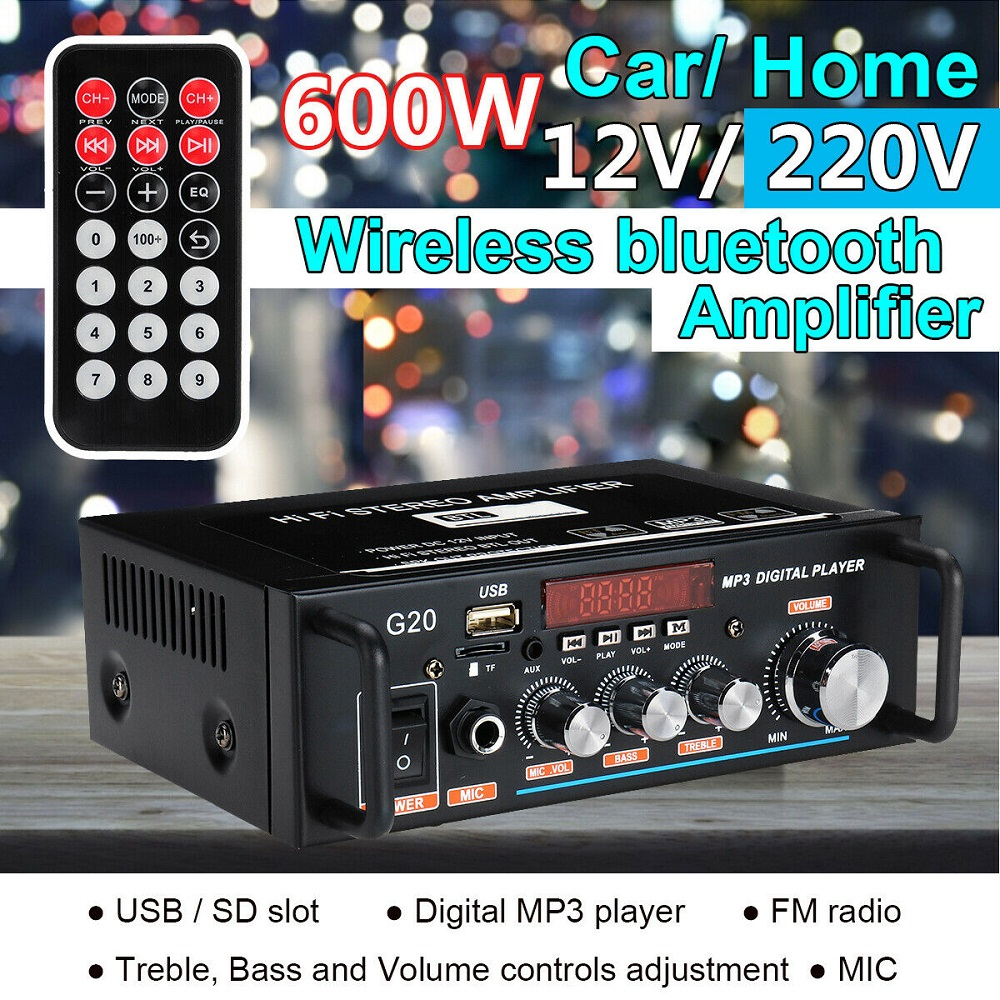 600W Bluetooth Amplifier 110V-220V 2CH HIFI Audio Stereo Power AMP USB FM Radio Car Home Theater with Remote Control