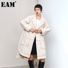 Fit Coat EAM Women Parkas Cotton-Padded Loose Autumn Big-Size Winter Fashion New Irregular