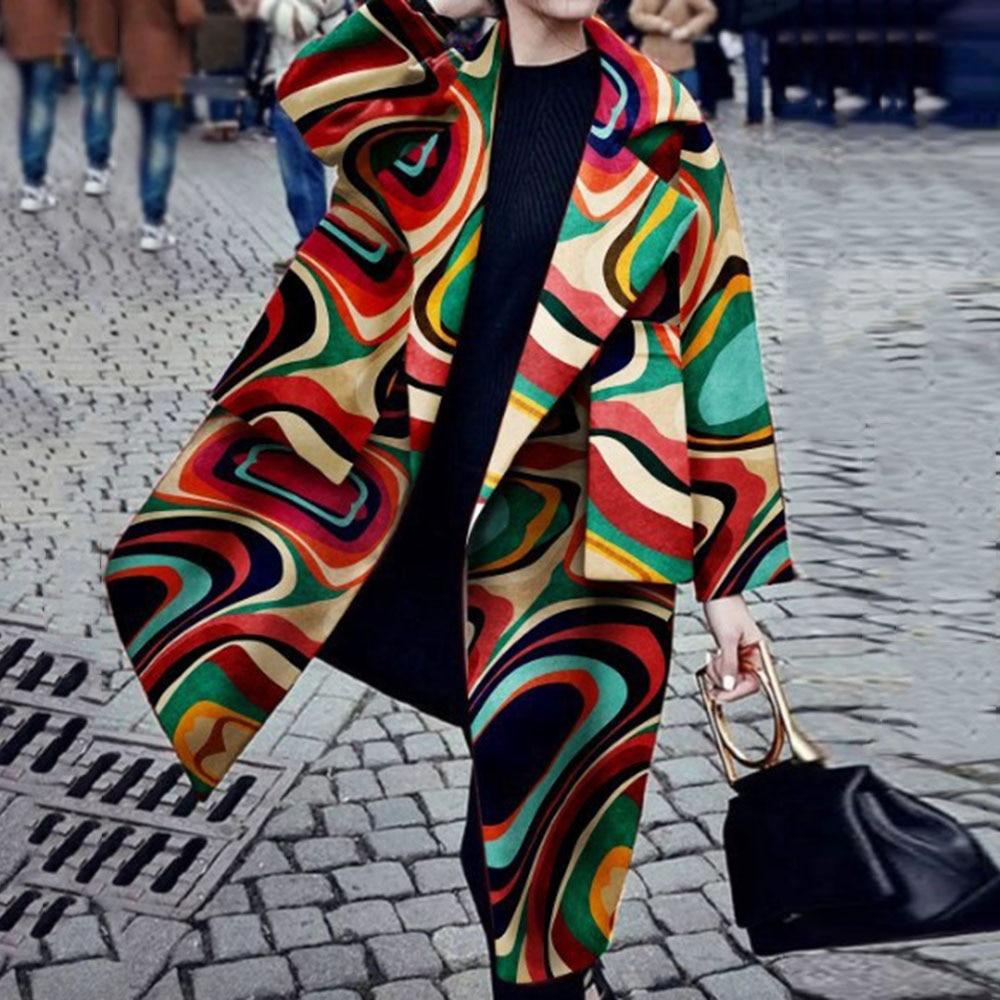 Colorful Overcoat Fashion Women Autumn Wool Blend Winter Long Trench Coat Large Plus Size Female Woolen Jacket Coat Outwear 2019(China)