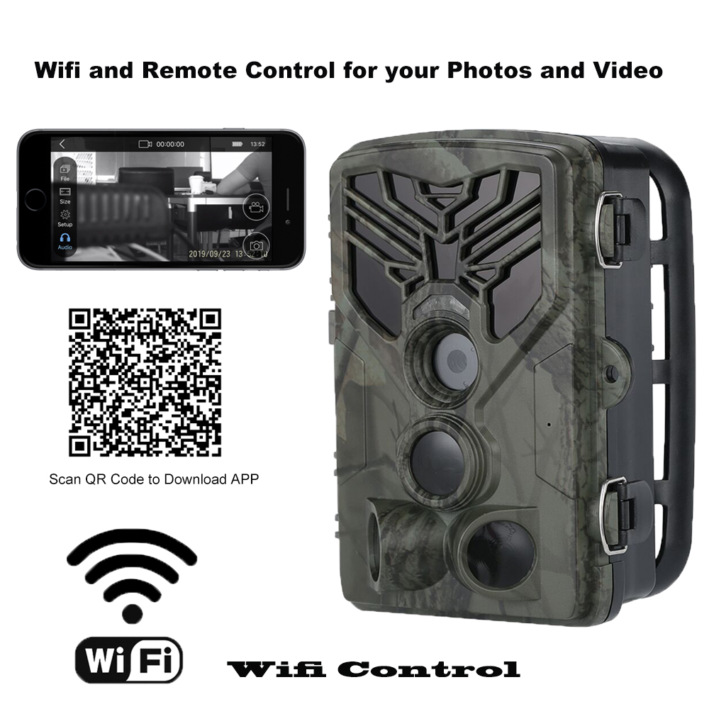 Wild Trail Camera  Wifi Remote Control Hunting Cameras HC810A 20MP 1080P Night Vision Wildlife APP Photo Traps  Cam