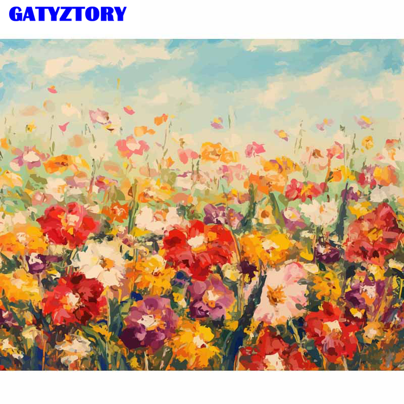 GATYZTORY Coloring Flower Frame DIY Digital Painting By Numbers Kits Hand Painted Modern Wall Art Canvas Painting For Home Decor