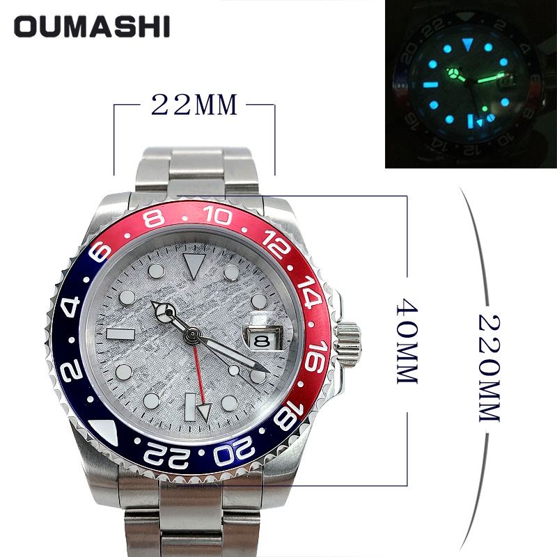 Watch Men Automatic Mechanical GMT 40MM Meteorite Dial Sapphire Crystal blue red Ceramic Bezel Waterproof Luminous - 6