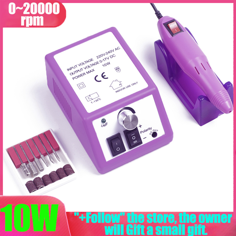 20000 RPM Electric Manicure Drill Professional 6 In 1 Manicure Nail Drill Bits Set Pedicure Sanding Equipment Manicure Tools