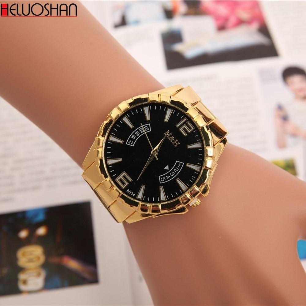 High Quality Golden Steel Watch Men Luxurious Alloy Wristwatches Fashion Imitative Calendar Quartz Sport Watch Relogio Masculino