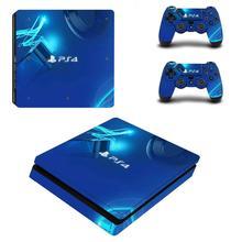 Mavi sınırlı sayıda PS4 Slim cilt Sticker çıkartması PlayStation 4 konsol ve denetleyici PS4 ince derileri
