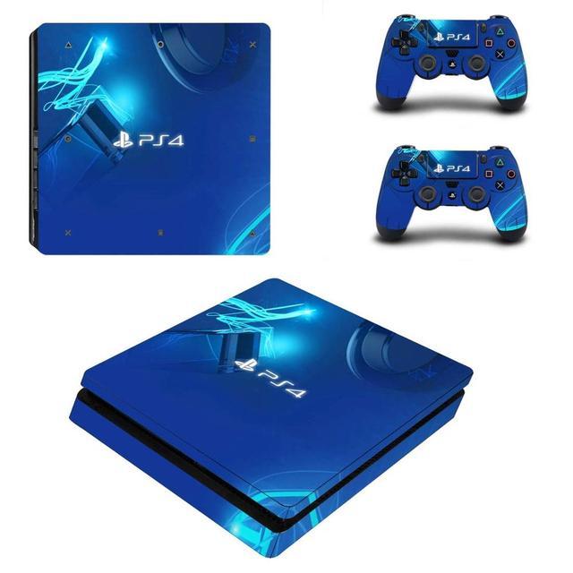 Xanh Dương Phiên Bản Giới Hạn PS4 Mỏng Da Miếng Dán Decal Dành Cho PlayStation 4 & Điều Khiển PS4 Mỏng Da