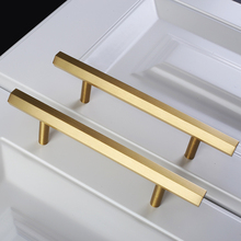 2.5 3.75 5 Brushed Brass Hexagon Dresser Pull Knob Handles Kitchen Cabinet Handle Drawer Door Furniture