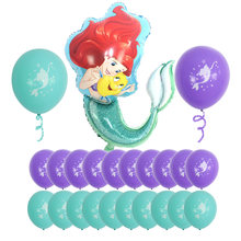 Mermaid theme birthday party Aluminum Foil Balloon set Mermaid latex balloons for Little Princess Baby Girl Birthday Party Decor(China)