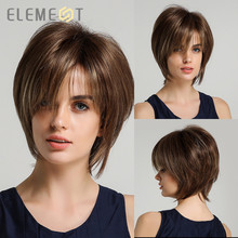 Element Women Pixie Cut Hairstyle Mix Brown Color Short Straight Synthetic Bob Wigs with Bangs for Daily Wear