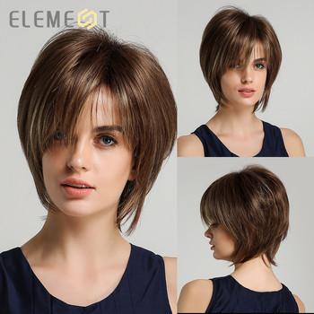 Element Women Pixie Cut Hairstyle Mix Brown Color Short Straight Synthetic Bob Wigs with Bangs for Daily Wear - discount item  66% OFF Synthetic Hair
