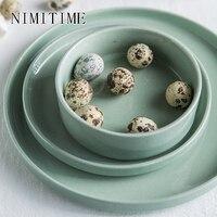 NIMITIME 노르딕 스타일 세라믹 홈 밥 그릇 물 컵 플랫 플레이트 간단한 서양 요리 저녁 식사 접시 식기