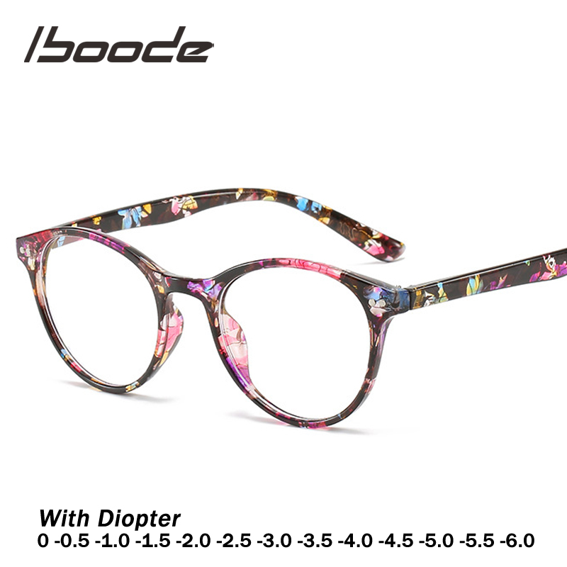 Iboode Retro Floral Print Finished Myopia Glasses With Frames Women Men 0 Degree -0.5 1.0 1.5 2.0 2.5 3.0 3.5 4.0 4.5 5.5 6.0