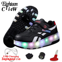 Size 28 40 USB Charging Glowing Sneakers on Wheels Luminous Sneakers on Wheels for Boys Shoes with Led and Roller Kids Led Shoes Sneakers     -