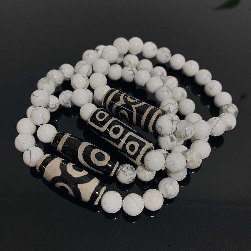 Natural Tibetan Dzi Agates Bracelets Healing Jewelry Buddha Prayer Nine-eyed Charm Bead Stone White Howlite Turquoises Bracelets
