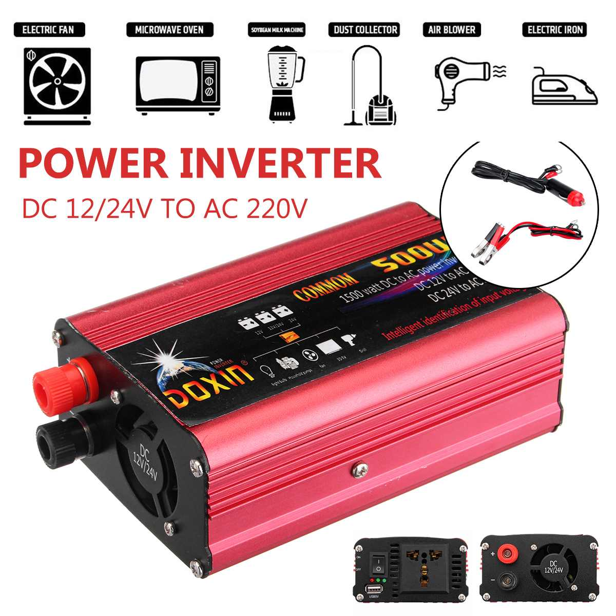 Car Power <font><b>Inverter</b></font> <font><b>1000W</b></font> Modified Sine Wave <font><b>Inverter</b></font> Converter DC <font><b>12V</b></font>/24V To AC 220V USB Plug Port Home Charge Car Accessories image