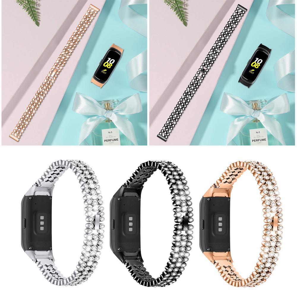 Shiny Diamond Metal WatchBand Strap For Samsung Galaxy Fit SM-R370 Smart Wristband Bracelet For Galaxy Fit-e SM-R375+watch Frame