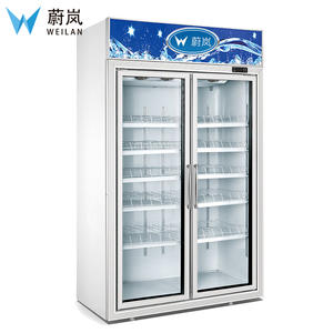 Supermarket commercial refrigerator equipment / 2 glass doors display freezer / 2~8