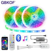 Led tira de luz bluetooth música sincronização controlador 5m 10m rgb 5050/2835 ip65 led fita diodo dc12v para o quarto casa decoração luz
