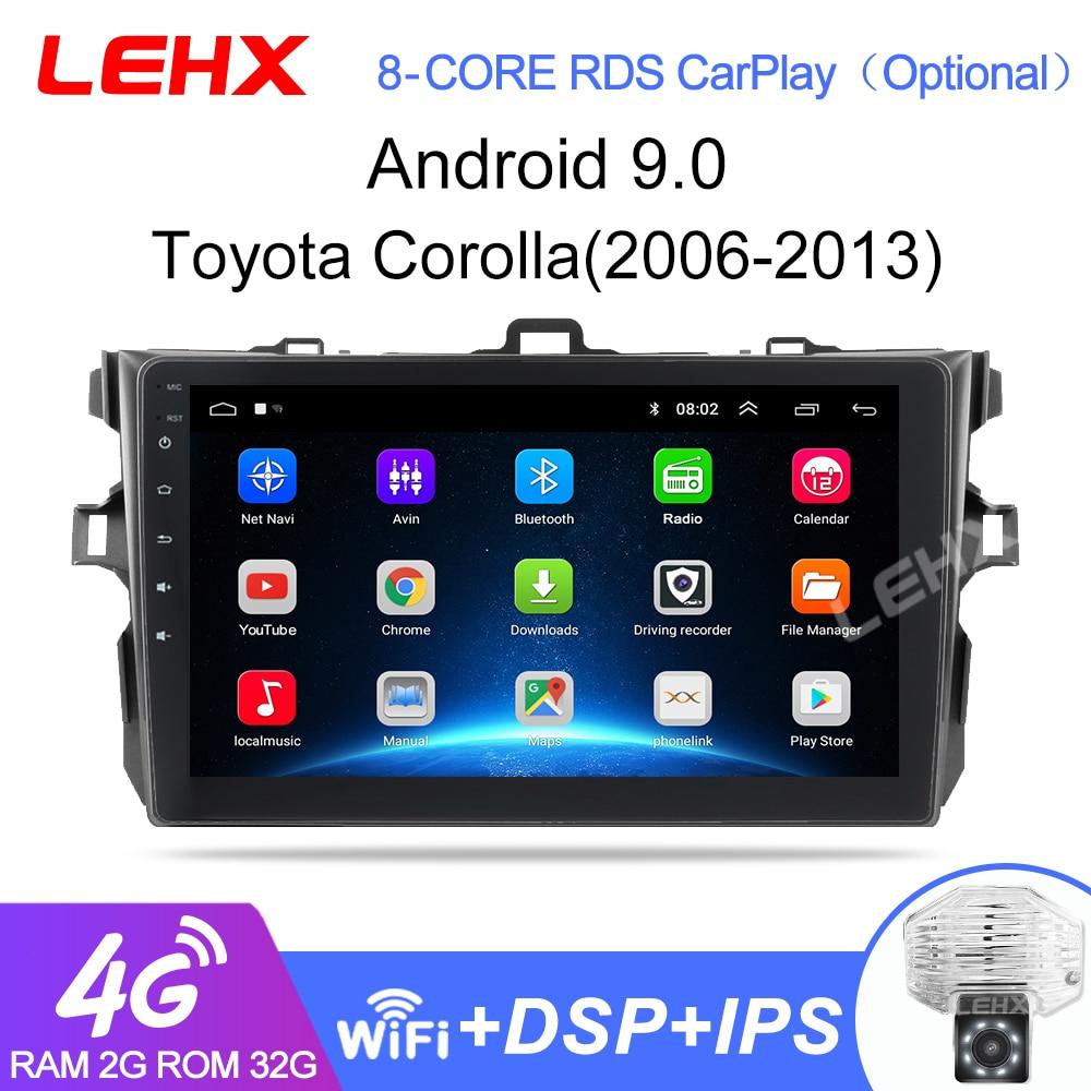 LEHX 2Din android 9.0 Car Radio reproductor Multimedia para Toyota Corolla E140/150/2006-2013, 2 din(China)