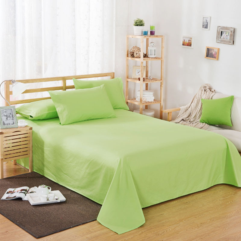 ropa de cama Solid color polyester cotton bed sheet hotel home soft brushed flat sheet queen bed cover not included pillowcase 12