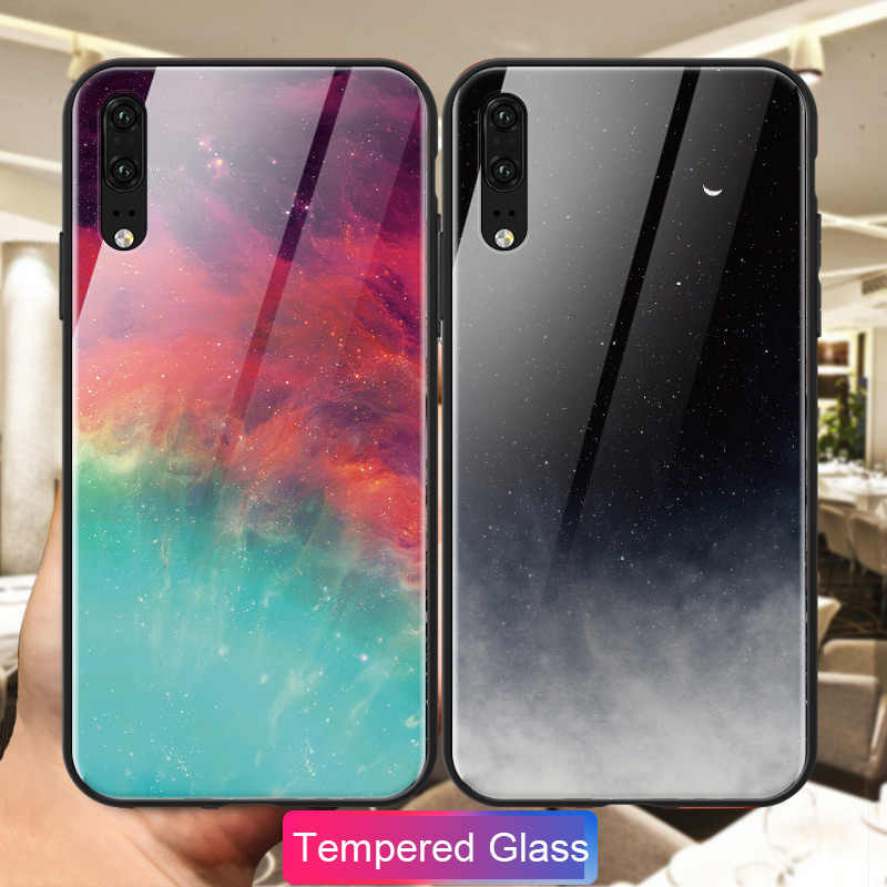 Colorful Phone Case For Huawei P8 Lite 2017 P9 Plus P10 P20 Lite Tempered Glass Cover Case For Huawei P30 P20 Pro P30 Lite Coque