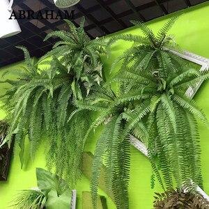 Image 1 - 140cm tropical planta de suspensão grande artificial samambaia grama bouquet folhas de plástico folha verde parede falso ramo árvore para decoração casa