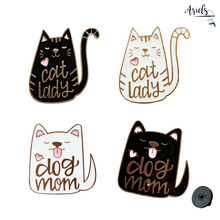 Cartoon Badge Letter Cat Lady  Brooches for Women Fun Puppy Animal Enamel Pins Clothes Backpack Jewelry Accessories Gift