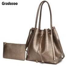Gradosoo Purse and Handbags New Shoulder Bags For Women Leather Bucket Bag Top-handle Waterproof Female Luxury LBF649