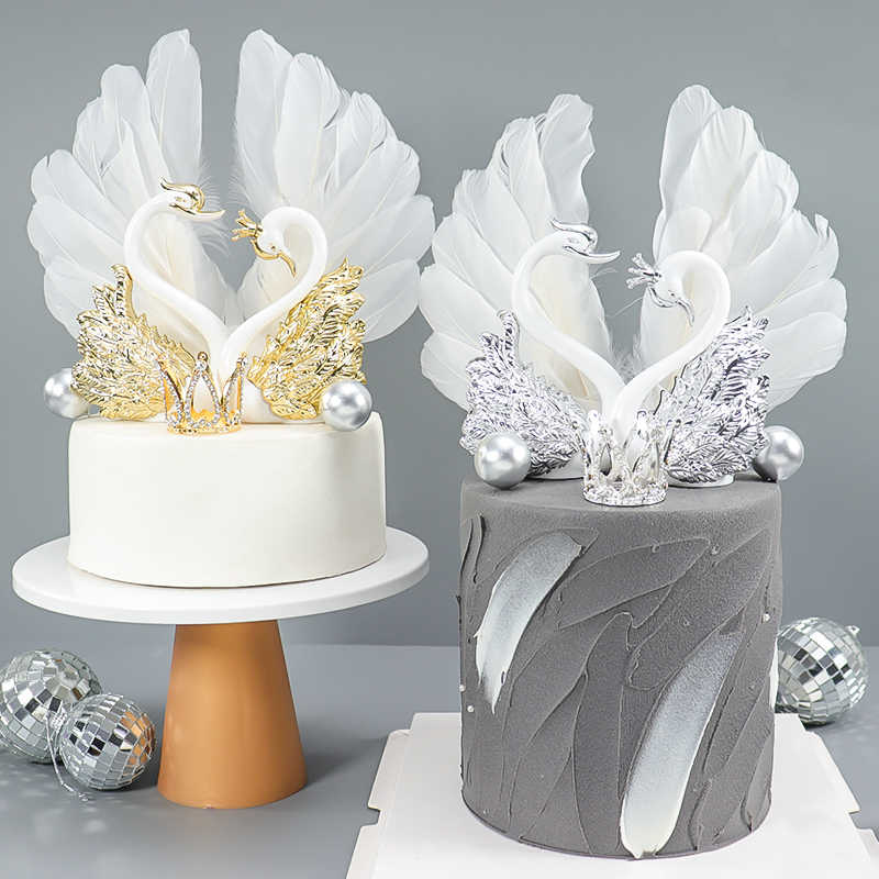 Cakelove Gold Silver Crown Swan เค้ก Topper Happy Birthday PARTY ตกแต่งสำหรับฝักบัวอาบน้ำทารกเด็กอุปกรณ์ครบรอบ Love