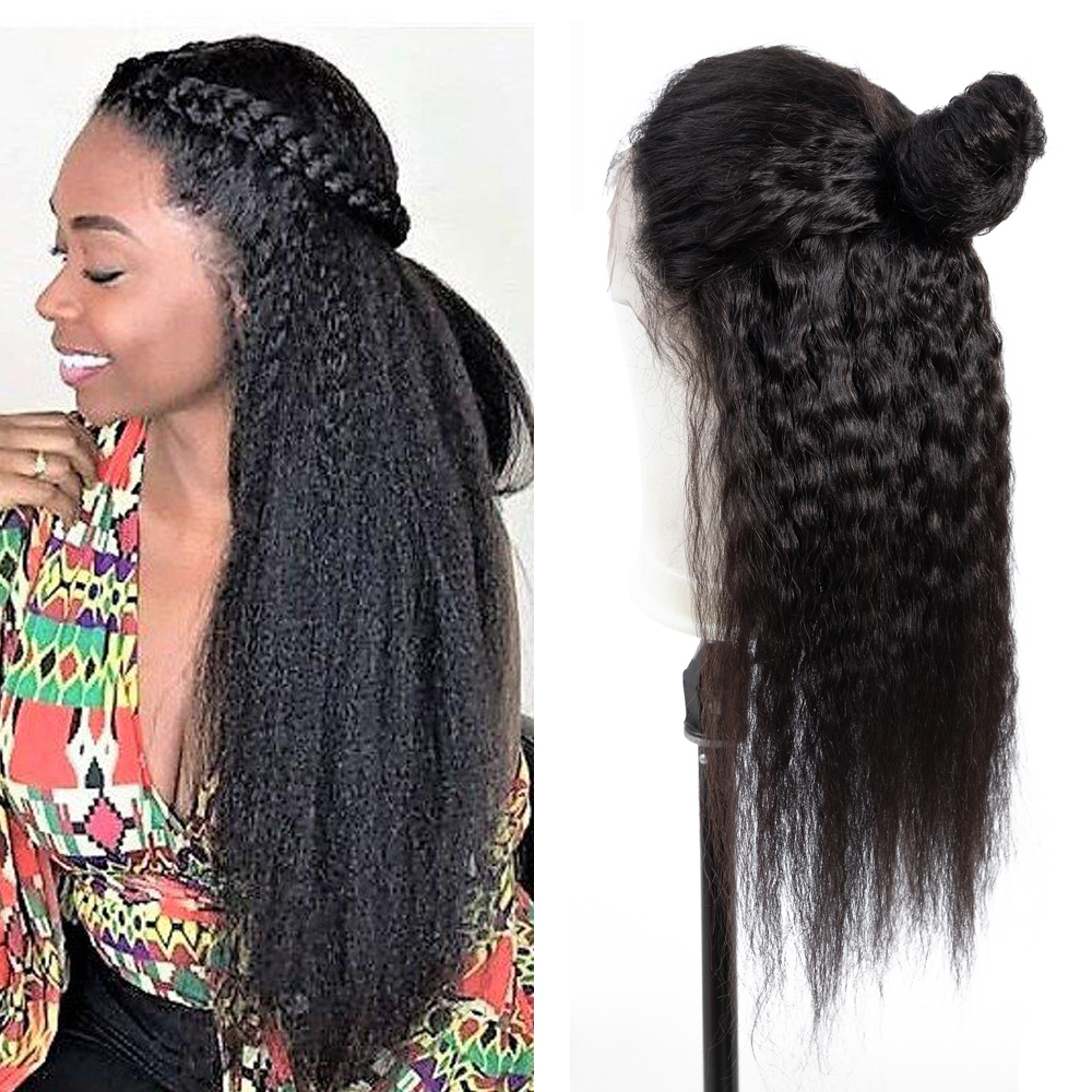Kinky Straight Brazilian Lace Front Human Hair Wigs With Baby Hair Brazilian Yaki Lace Front Wigs Pre Plucked Bleached Knots