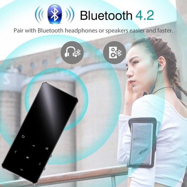 REDANT MP3 Player with Bluetooth Speaker Touch key Built-in 8GB 16GB HiFi Metal Mini Portable Walkman with radio FM recording 3