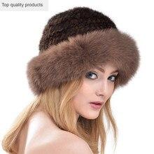 Knitted Mink Hat Fur Brim Fedoras Winter PU27