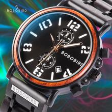 Get more info on the BOBO BIRD Luxury Brand Wood Watch Men relogio masculino Chronograph Wristwatch Military  Gift for Father Son Husband Customize