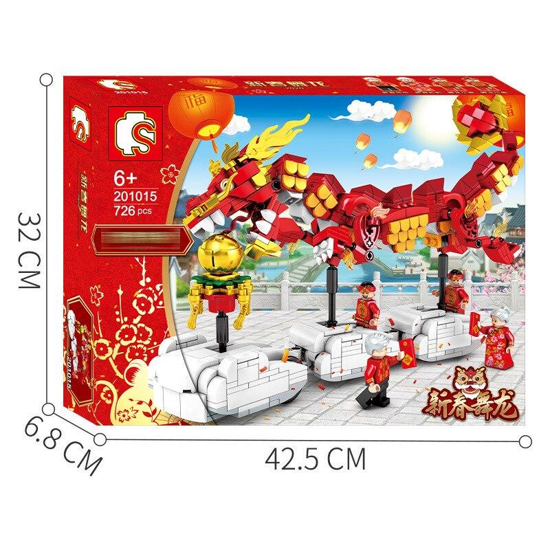 Sembo 726PCS Dragon Dance Chinese style China New Year  Block Toy New 201015