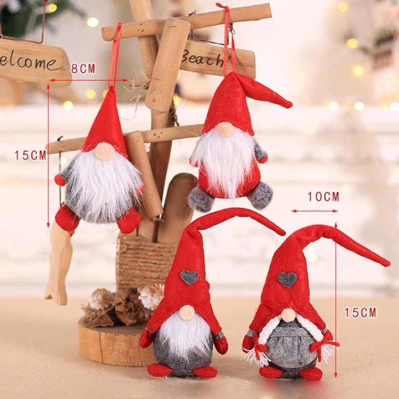 Merry Christmas Ornament Plush Tomte Doll Christmas Drop Ornaments Toy Tabletop Santa Holiday Figurines Gift Decoration