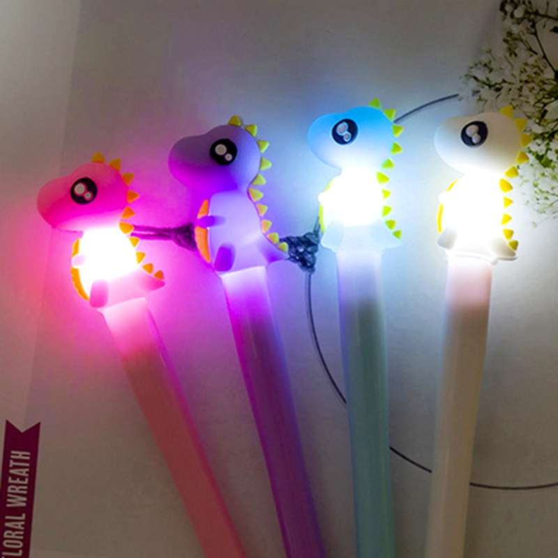 Kids Dinosaur Light Toys Luminous Light Pen Glow In The Dark Gel Pen Baby Boy Girl Dinosaur Glowing Toys Kids Shine Toy