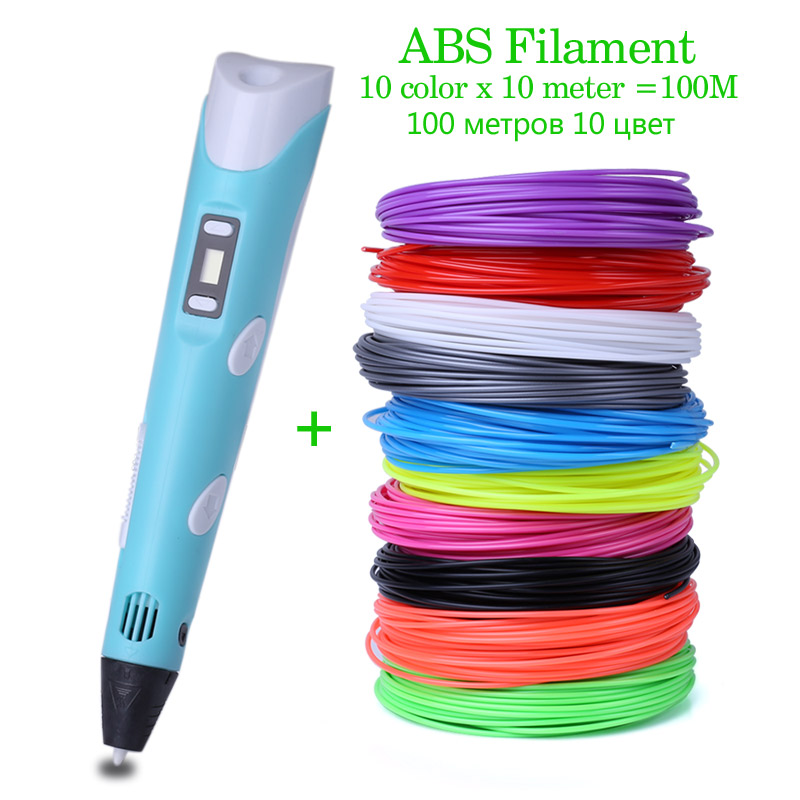Original Model 3D Printing Pen With 100 Meter 10 Color ABS Filament For Kids Adult